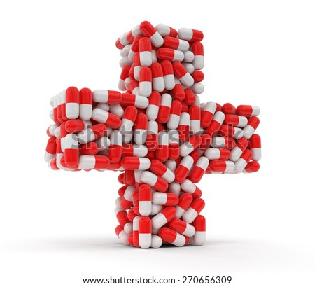 Cross from Pills (clipping path included) - stock photo
