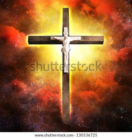 Cross Hangs in Sky - stock photo