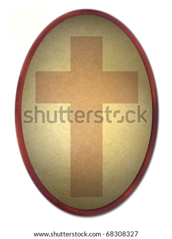 cross in background oval frame or button with lighting, texture, gold and brown color tones, and isolated on white - stock photo