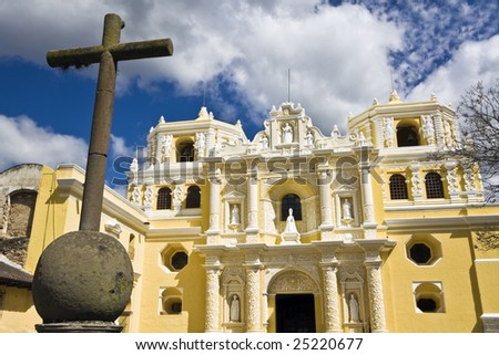 Cross in front of La Merced in Antigua - stock photo