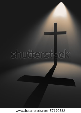 Cross in the light - stock photo