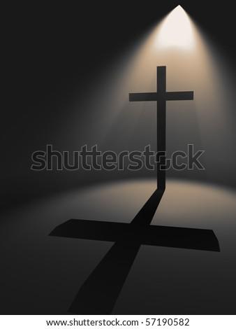 Cross in the light - stock photo