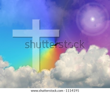 Cross In The Sky - stock photo
