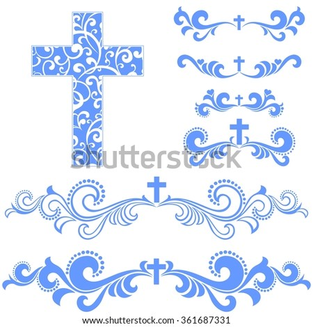 Cross isolated on White background. Collection of Christian Symbol design elements isolated on White background.  illustration  - stock photo