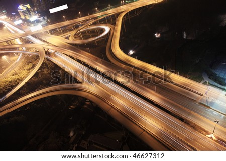 cross junction in China at night - stock photo