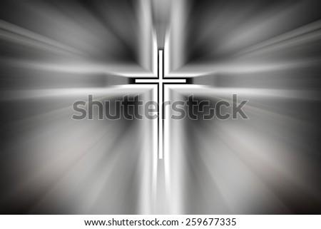 Cross Light, God is in the light - stock photo