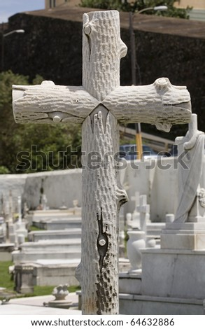 cross located inside cemetery in San Juan Puerto Rico.