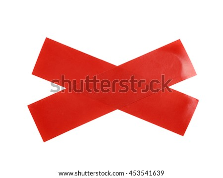 Cross made of two pieces of insulating tape isolated over the white background - stock photo