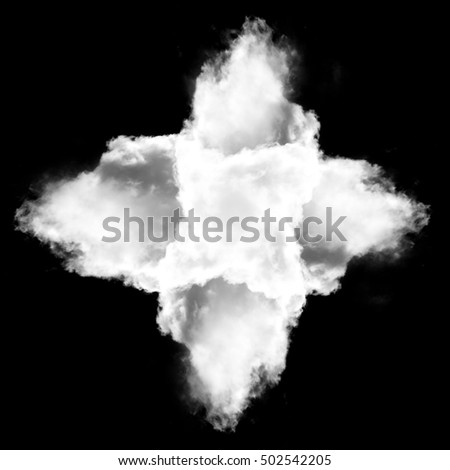 Cross made of white clouds isolated over black background illustration, 3D rendering