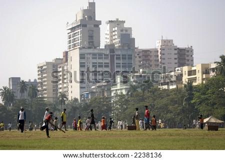 Cross Maidan in Bombay or Mumbai in India - stock photo