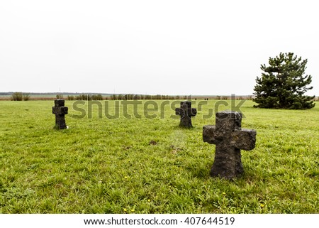 cross monument as memory for WW2 or WWII, world war two