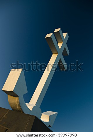 Cross of Lorraine monument to the Free French forces who died in the Second World War, WW11. The cross includes an anchor because the port of Greenock was used by the French navy. - stock photo