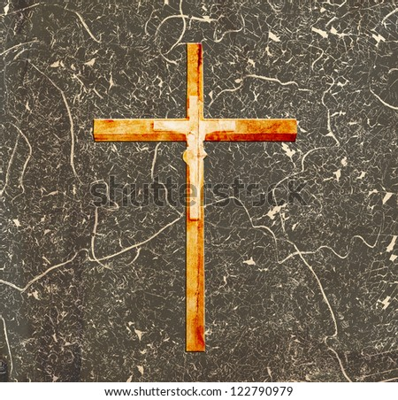 cross on abstract grunge background - stock photo