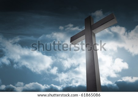 cross on dark sky - stock photo