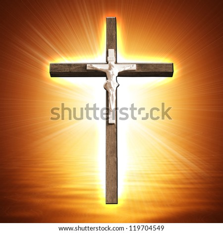 Cross on glowing background - stock photo