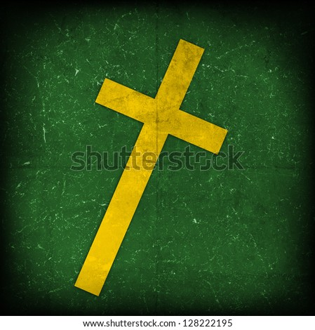 cross on green grunge background - stock photo