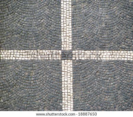 Cross on sidewalk - stock photo