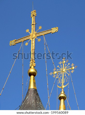 cross on the dome of Christian Church - stock photo