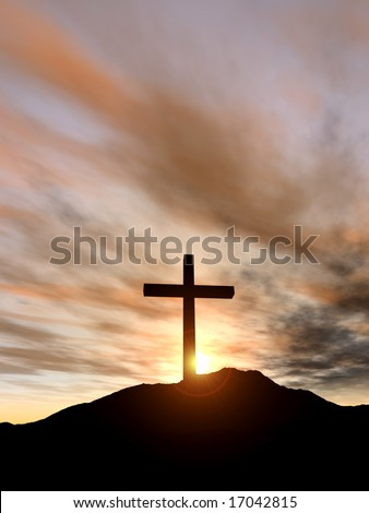Cross on the hill - stock photo