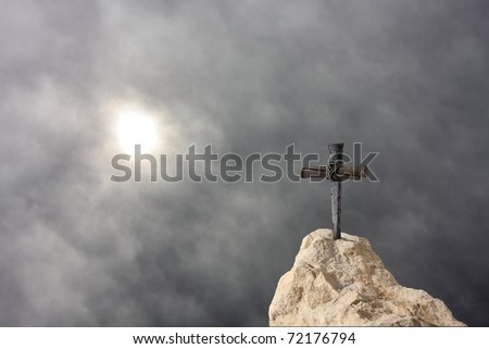 Cross on the Rock - stock photo