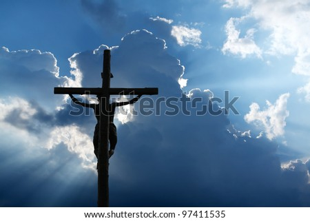 Cross on the sky - stock photo