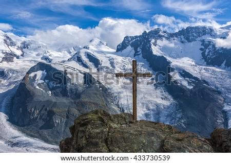 Cross over Gorner Glacier, Switzerland - stock photo
