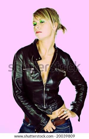 Cross Process Edit of Attractive Blonde Girl Posing in Studio - stock photo