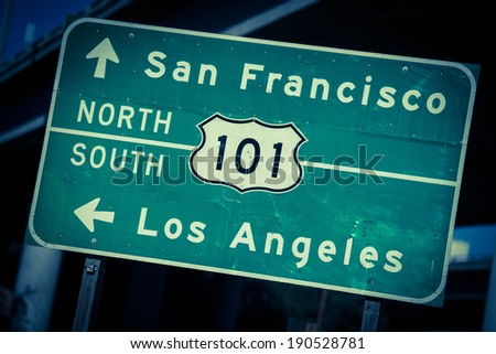 Cross processed highway 101 sign in Southern California - stock photo