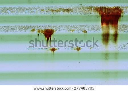 Cross Processed Rusty Metal Siding - stock photo