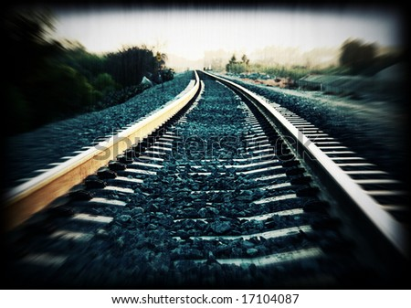 Cross-processed train track with added grunge effect - stock photo