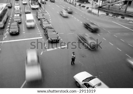 cross-road in Shanghai, China - stock photo