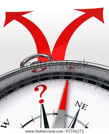 cross roads choice red arrows and concept compass with question mark on white background. clipping path included - stock photo