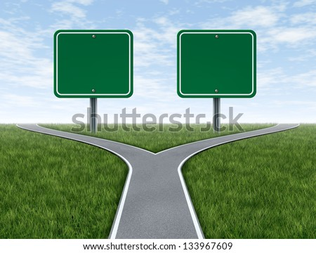 Cross roads with two blank road signs for copy space as a business concept and strategy symbol for difficult choices and challenges when selecting the right strategic path for financial planning. - stock photo