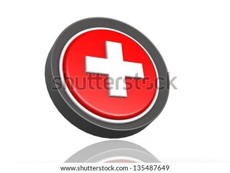 Cross round icon - stock photo