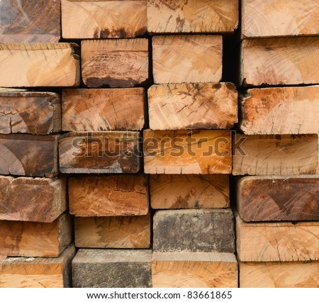 Cross section detail of old hardwood surface - stock photo