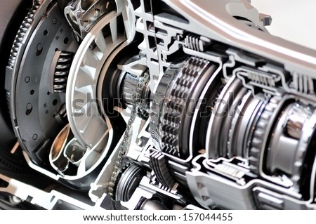 Cross-section of a car gearbox and clutch. - stock photo