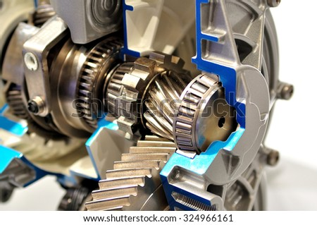 Cross section of a gearbox. - stock photo