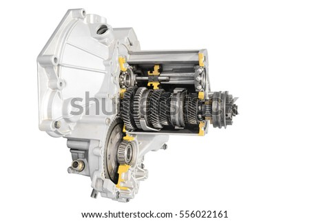 Cross section of a transmission part and gearbox isolated on a white background with clipping path