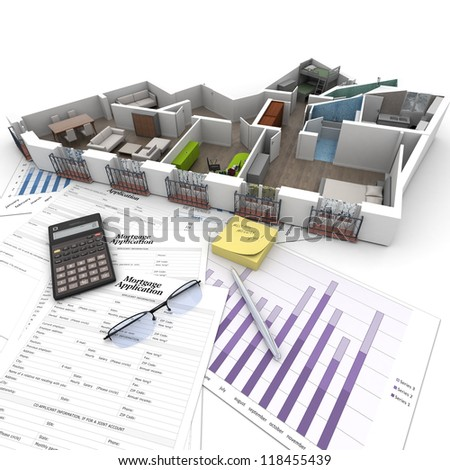 Cross section of an apartment on top of a table with mortgage application form, calculator, blueprints, etc.. - stock photo