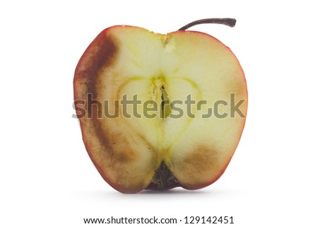 cross section of decaying apple isolated on white - stock photo