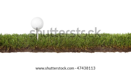 cross section of grass with golf ball on tee - stock photo