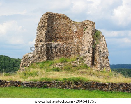 Cross section of medieval castle tower. Lichnice in Czech republic. - stock photo