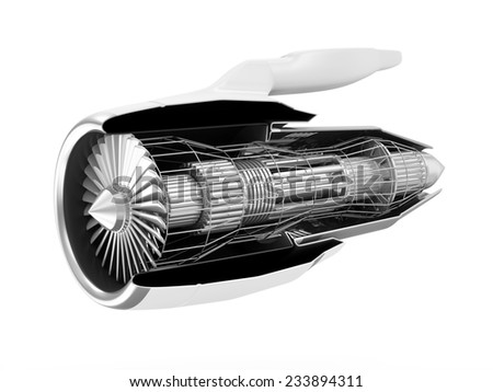 Cross Section of Modern Airplane Jet Engine Turbine isolated on white background - stock photo