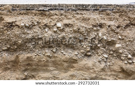 Cross section of road - stock photo
