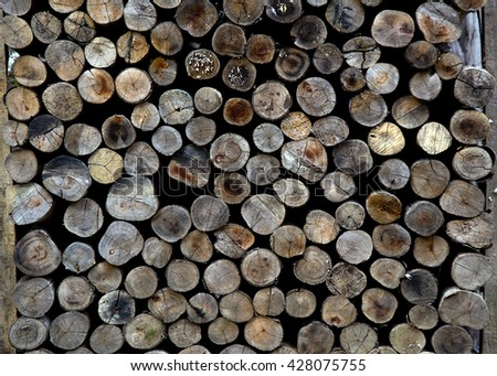 Cross section of the timber, firewood stac - stock photo