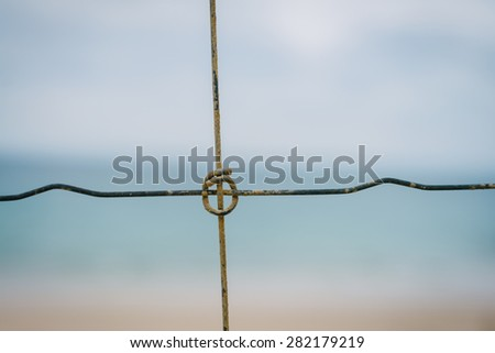 cross section on a wire fence, abstract image - stock photo