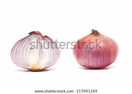 Cross section photo of Red Onion. Isolated on the white background.