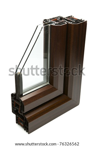 Cross Section PVC Window on isolated white background - stock photo
