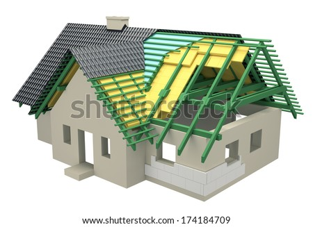 cross-section with insulation home - stock photo