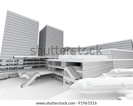 Cross section with perspective of airport, metro and bus station in big city. Computer generated visualization in sketchy, drawing style. - stock photo